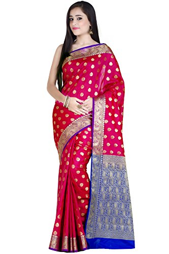 Chandrakala Women's Red Kataan Silk Blend Banarasi Saree,Free - Blouse Bridal