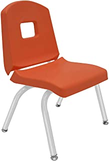 """product image for Creative Colors 1-Pack 12"""" Kids Preschool Stackable Split Bucket Chair in Autumn Orange with Platinum Silver Frame and Self Leveling Nickel Glide"""
