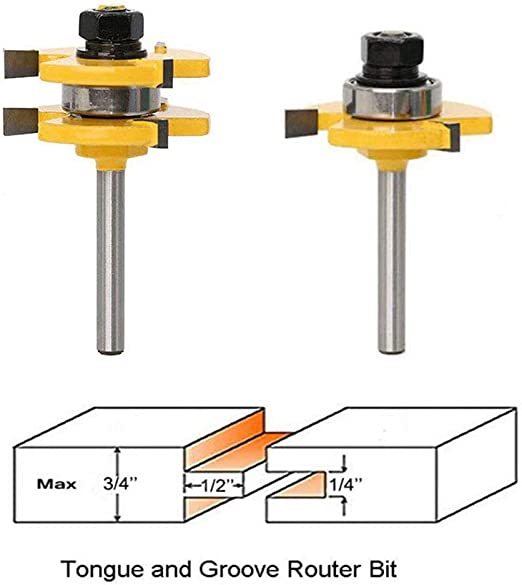 2Pcs 1//4/'/' Shank Matched Tongue and Groove Router Bit Woodworking Cutter