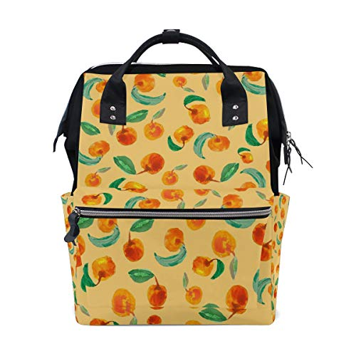 (HangWang Diaper Bags Watercolor Fruit Fashion Mummy Backpack Multi Functions Large Capacity Nappy Bag Nursing Bag for Baby Care for Traveling)
