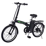 "Goplus 20"" 250W Folding Electric Bike Sport Mountain Bicycle 36V Lithium Battery (Black)"
