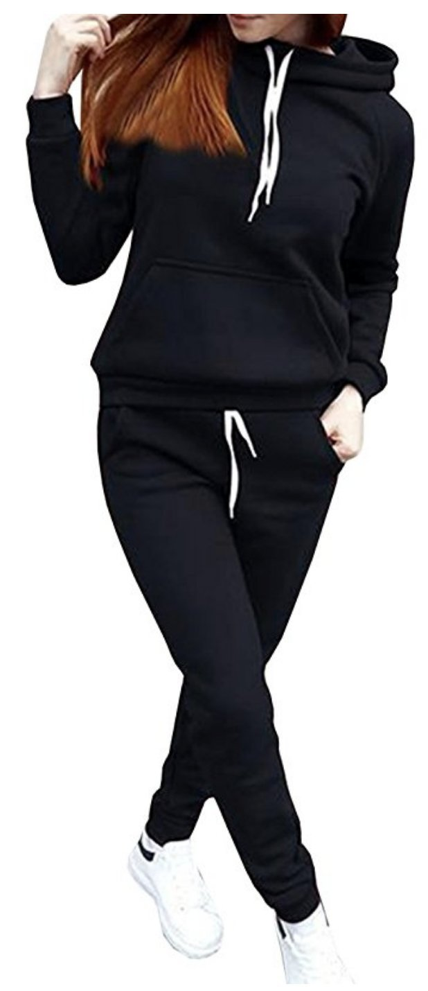 SUKIYAKI Women Jogger Outfit Matching Sweat Suits Long Sleeve Hooded Sweatshirt and Sweatpants 2 Piece Sports Sets (L, Black)