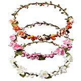DRESHOW 3 Pack Flower Crown for Women Berries Wreath Boho Headband Festivals Wedding, Pink, White, Orange