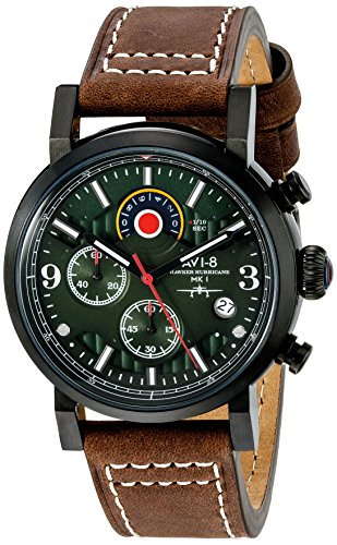 AVI-8-Mens-AV-4041-04-Hawker-Hurricane-Stainless-Steel-Watch-with-Brown-Leather-Band