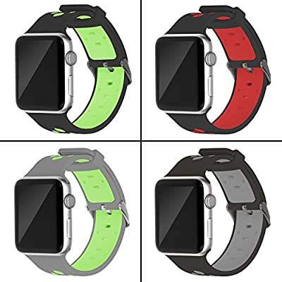 Oitom 38mm Soft Breathable Silicone Replacement Wristband Straps with Plated TPU Protective Case for Apple Watch Nike+,Series 1,Series 2,Sport,Apple Watch Edition M/L Size (Black 4 38mm)