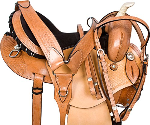 """PRO SERIES ROUND SKIRT WESTERN BARREL RACING LIGHT WEIGHT LEATHER HORSE SADDLE TACK 14"""" 15"""" 16"""" -"""