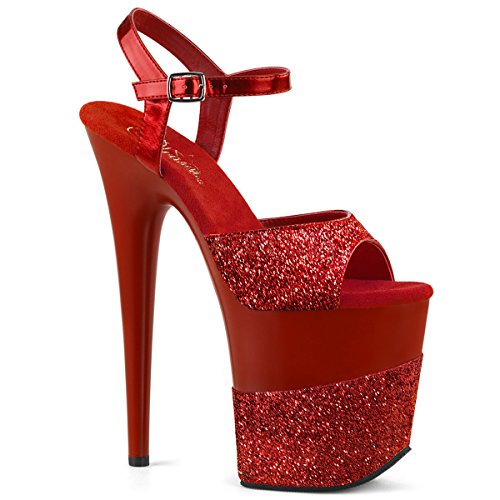 Red Red Flamingo Glitter Glitter 2g Damensandalen Pleaser 809 q6wSvW4