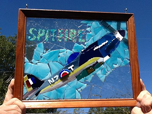 Stained Glass WW2 Spitfire Super Marine Airplane Window Art Sun Catcher