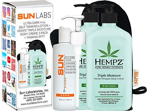 Hempz Triple Moisture Herbal Whipped Body Crème 17 oz 2- Pack + Dark Self tanner 4 oz + Lotion Applicator -  HTM2xp