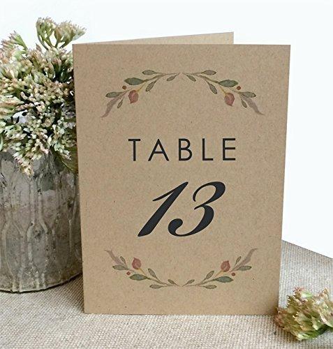 Amazon.com: Rustic Table Numbers - 4x6 Kraft Folded Freestanding ...