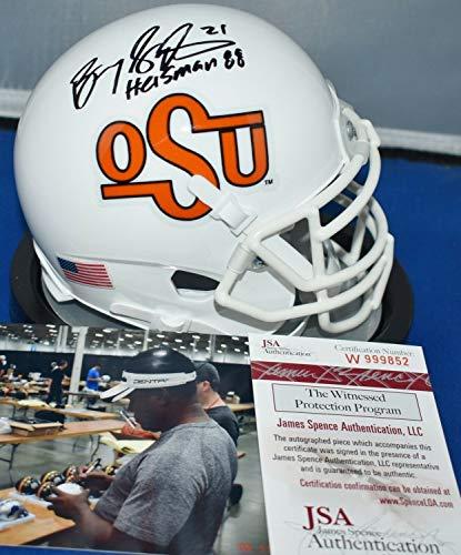 Barry Sanders Autographed Signed Memorabilia Mini Helmet Oklahoma State 88 Cowboys Heisman 1988 - JSA Authentic