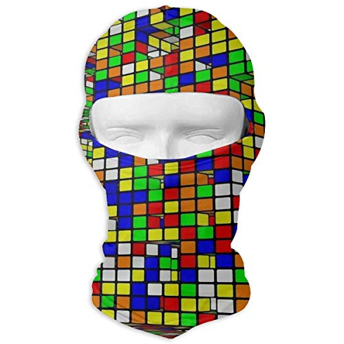 Windproof Balaclava Hood, Rubix Cubes Pattern Patio for Skiing Motorcycle ()