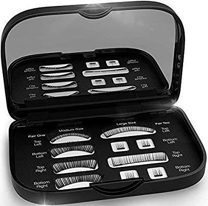 Magnetic False Eyelashes [FREE MIRROR] Full Eye Kit - Natural Length Magnet Lashes - Dual Magnets - Fake Lashes Set - [Medium/Large] (Black)