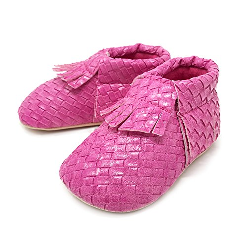 FRILLS Infant Toddlers Baby Boys Girls Soft Soled Fringe Crib Shoes PU Moccasins (0-6 M / 11cm - length, 6cm - width, Hot Pink)