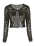 kayamiya Women's Wedding Bolero Sparkly Sequined Long Sleeve Cropped Shrug Top Gold S/US4-6