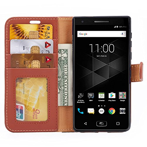 Black Blackberry Leather Folio (BlackBerry Motion Case, PUSHIMEI Slim Folio / Flip Pu Leather With Stand TPU Bumper Back Wallet Phone Case Cover For BlackBerry Motion / BlackBerry Krypton (Brown))