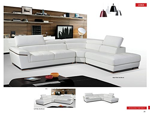 ESF 2383 White Genuine Leather Sectional Sofa ()