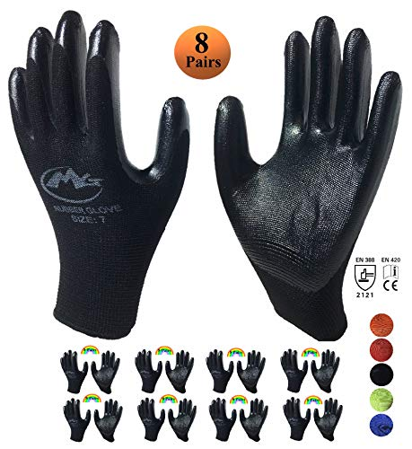 Rubber Nitrile Latex Coated Safety Working Gloves For Men and Women, Flex Knit Gardening Gloves With Firm Grip Coating (8 Pair Value Pack) (Medium, Black) - Waterproof Gardening Gloves