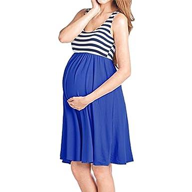65b78f97ef6dba Juleya Sommer S-XL Rundhalsausschnitt Hohe Taille Knie Lange Umstandskleid  Stretch Lässige Bequeme Frühling Kleider