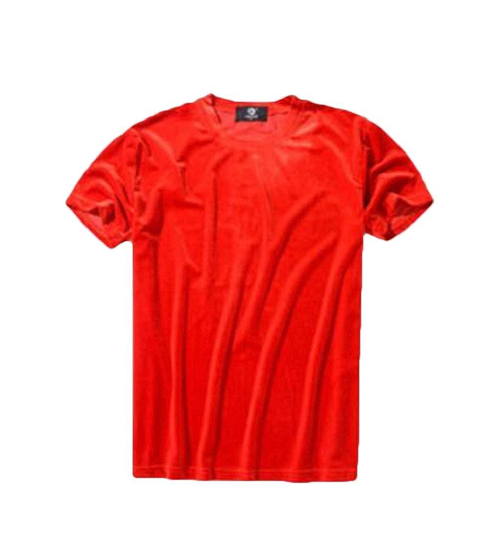 Domple Mens Short Sleeve Pleuche Solid Color Crew Neck T-Shirt Tee Top