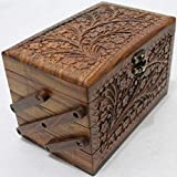 "2020 Valentines Day Gift Unique Wooden Hers Jewelry Box Solid Wooden with Hand Carving Floral Designs and Medieval Era Lock Three Compartments 8""x5""x5"""