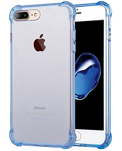 Matone for iPhone 7 Plus Case, for iPhone 8 Plus Case, Crystal Clear Shock Absorption Technology Bumper Soft TPU Cover Case for iPhone 7 Plus (2016)/iPhone 8 Plus (2017) - Clear Blue
