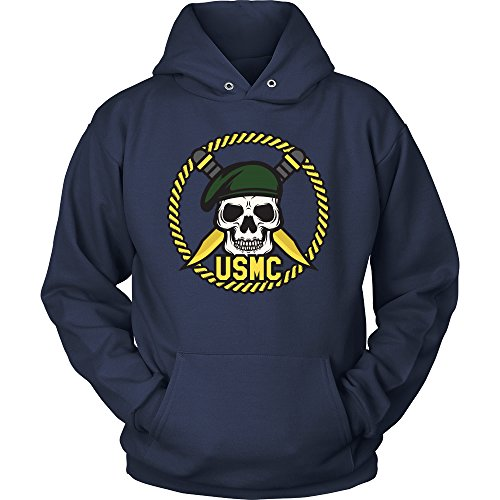 MEDIUM - Marine Corps USMC Sweatshirt Hoodie - USMC Hoodie - US Army Shirt - Skull Emblem - Knifes and Anchor (MEDIUM, NAVY)