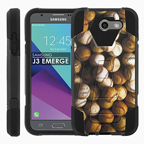 Samsung Galaxy J3 Emerge [2017] Armor Case [Case86] [Black/Black] Proton Guard Dual Layer Phone Case [Screen Protector] - [Baseballs] for Galaxy [2017] [J3 Emerge] [5