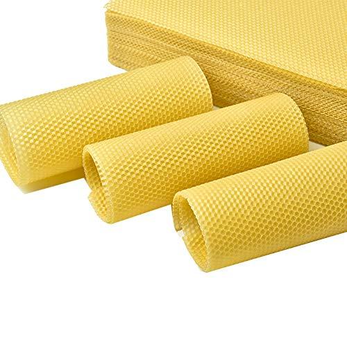 Renococo 50PCS Natural Beeswax Sheets with Honeycomb Texture, 100% Pure Nature Professional Bee's Wax Coated Deep Bee Nest Foundation,Honeybee Wax Flake Beekeeping Tool for Beekeepers (Yellow) ()