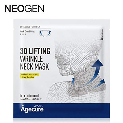 NEOGEN AGECURE 3D LIFTING WRINKLE NECK MASK - 1 BOX OF 5 SHEETS 65g / 2.20 - Ounce Boxes 2.2