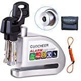 [Upgraded] COOCHEER Alarm Disc Lock, Scooter Motorcycle Bike Security Anti-theft & Waterproof Brake Wheel Lock Super Class C Level Lock Cylinder 110db Alarm With bag
