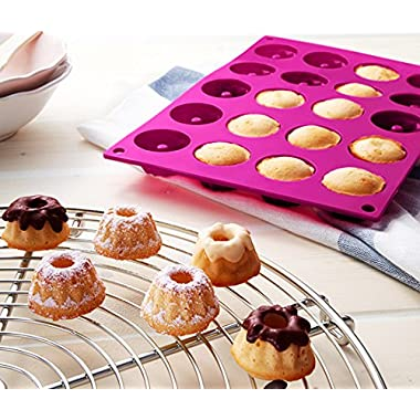 Impressive Mini 20-Cavity Bundt Savarin Cake Pan Mould Silicone Mold Baking Mould