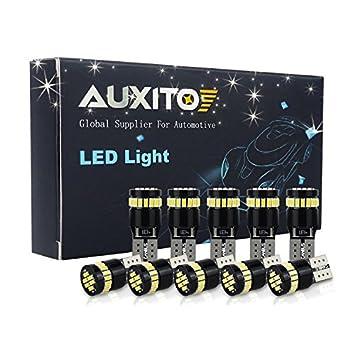 AUXITO 10x T10 W5W LED Coche Luz Bombilla,12V 6000K CANBUS Iluminaci¨®n