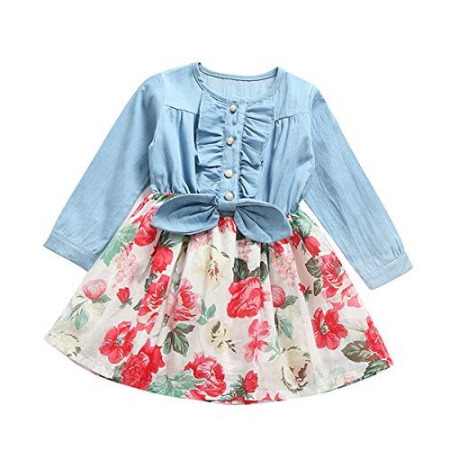 QiBao Little Baby Princess Classic Splicing Dress,Denim Tops Splicing Chiffon Floral Tutu Skirt,Girls Longsleeve Bowknot Lace Dress (2-3Years)