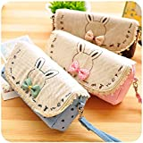 1 X Creative Cute Bowknot Large Capacity Canvas Pencil Box Stationery Supplies Pencil Case