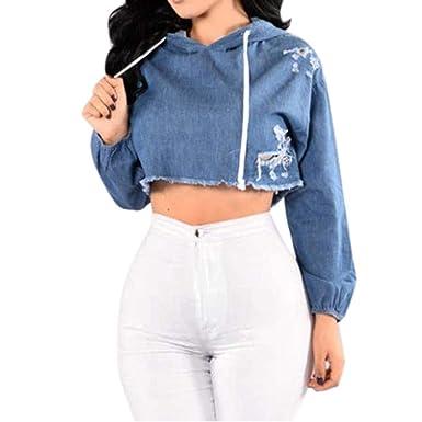 c1d970cf6a79 KIMODO Pullover Damen Sweatshirts Kapuzenpullover Hoodie Jean Loch  Kapuzenjacke Blau Top Mode 2019  Amazon.de  Bekleidung