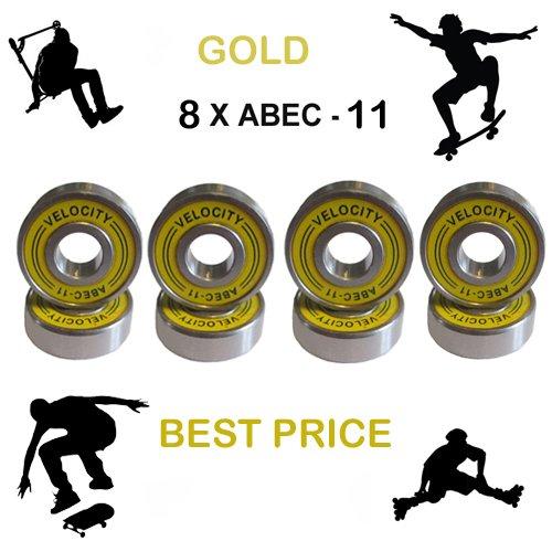 Set of 8 Premium High Velocity Speed Fastest Skateboard Ball Bearings Kit