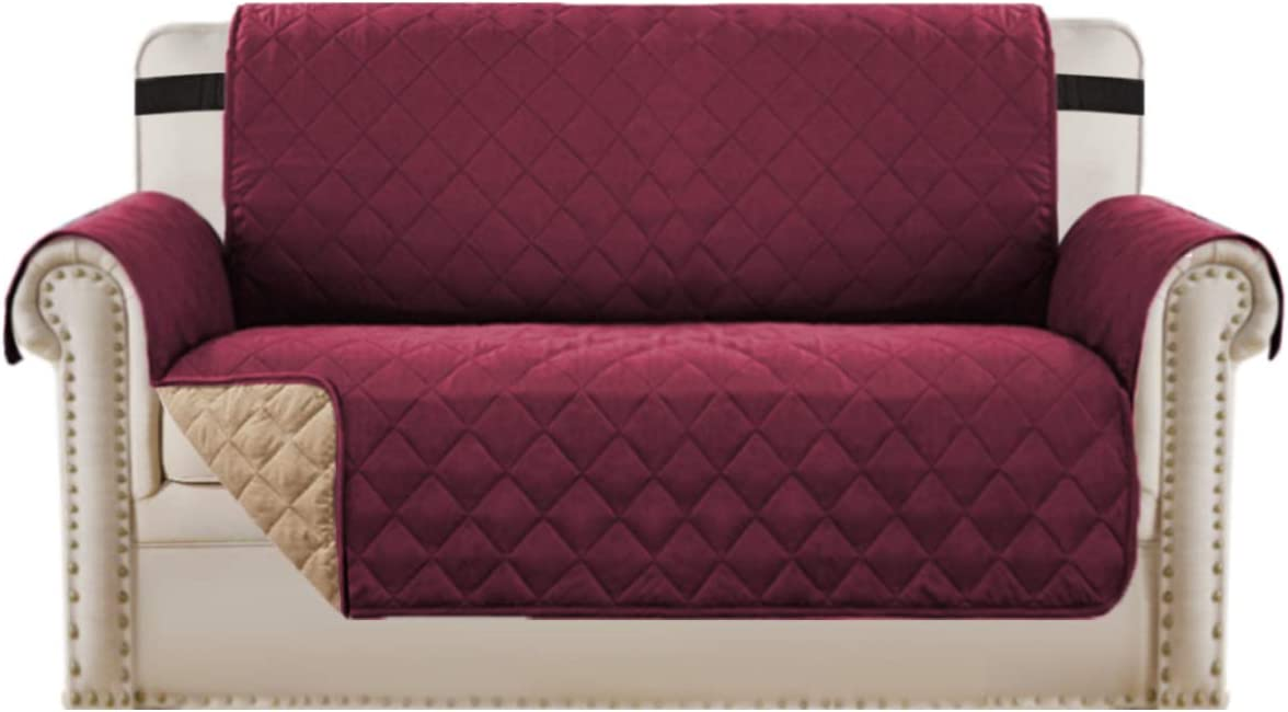 "Loveseat Covers Loveseat Slipcover Reversible Quilted Furniture Protector with Elastic Straps Slip Resistant Furniture Cover for Dogs Seat Width Up to 46"" (Loveseat, Burgundy/Tan)"