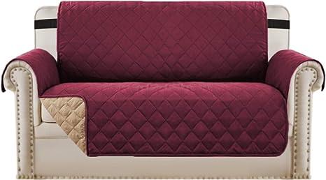 Image ofBellaHills Protectores de sofá Impermeables de 2 plazas de Mascotas/Perros Fundas de sofá Fundas de Muebles Antideslizantes Color Reversible (2 plazas, Burdeos/Tostado)