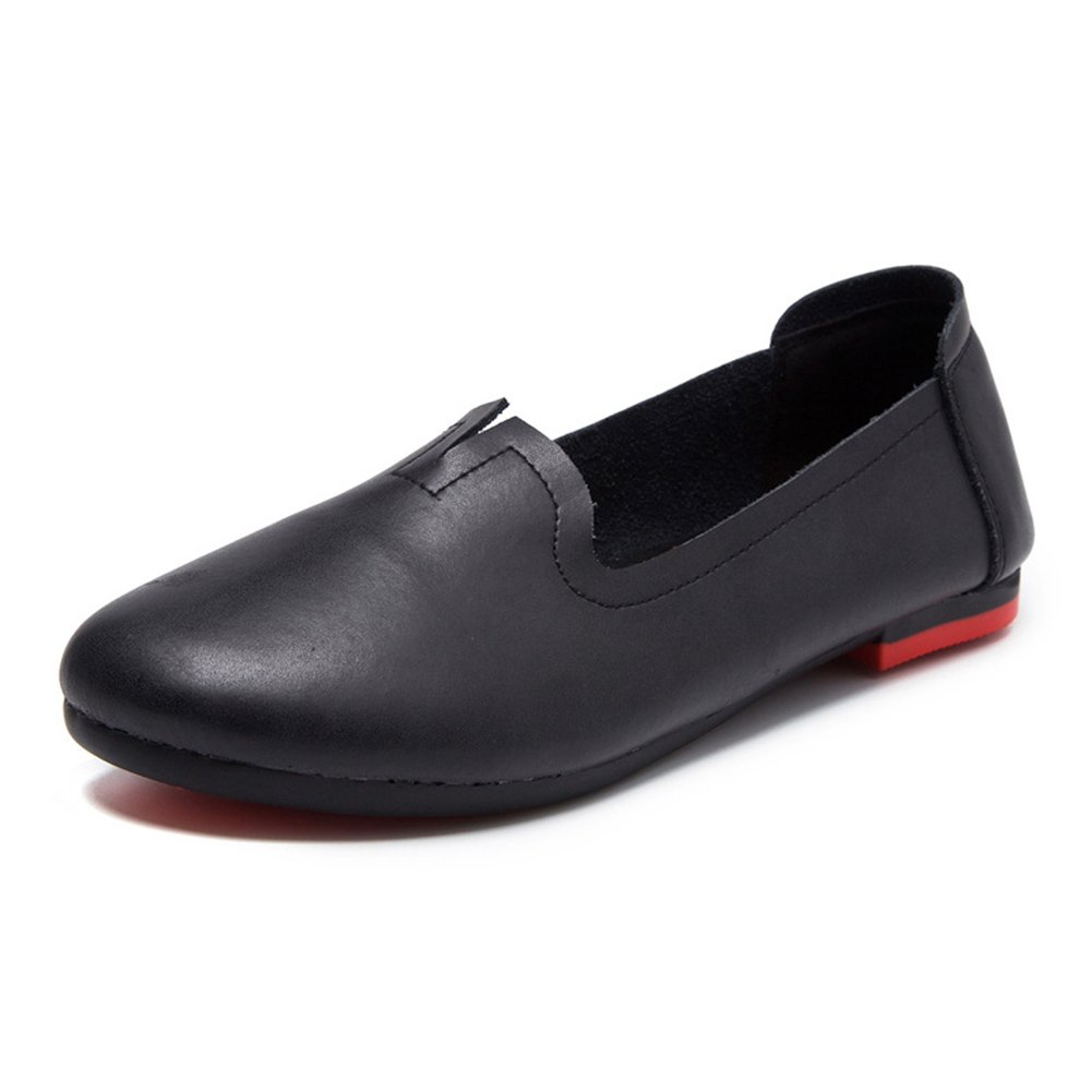Womens Genuine Leather Casual Loafers Soft Sole Work Flat Shoes for Mothers Nurses Maternity Black EU43-US Size 11