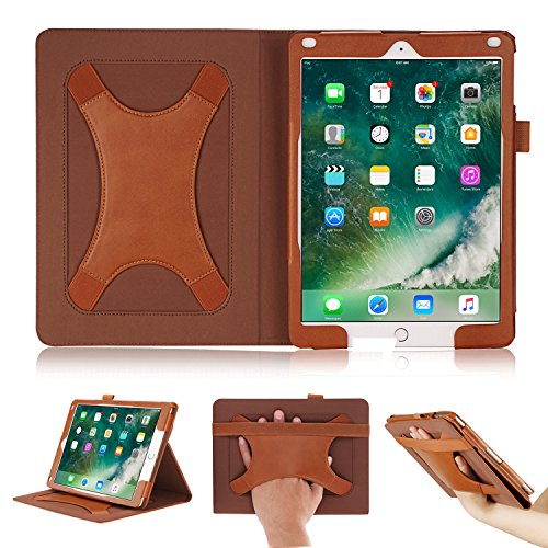 Suede Folio Case (BeePole New iPad 2017 9.7 Case with Multi Angle Support Xband Enhanced Hand Strap - PU Leather Cover with Magnetic Auto Wake/Sleep Feature for iPad 2017 9.7, iPad Air, iPad Air2 (Brown))