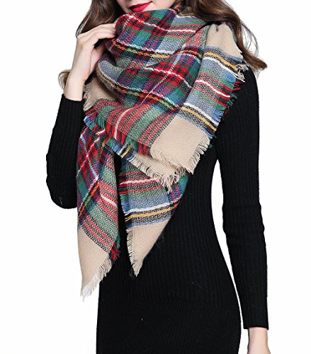 Peach Couture Warm Tartan Plaid Woven Oversized Fringe Scarf Blanket Shawl Wrap (One Size, Tan)