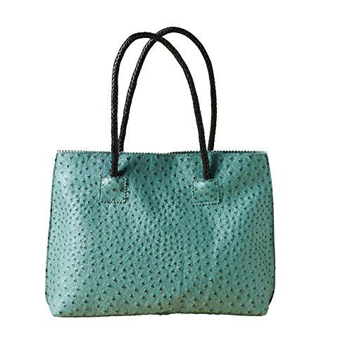 Women's Vegan Handbag - Ostrich Look Embossed Tote with Zip Close - Dusk - Ostrich Embossed Tote
