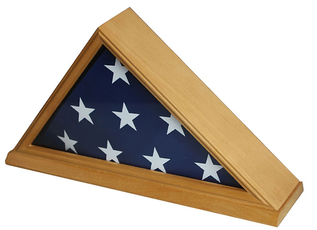 DisplayGifts 5' X 9. 5' Flag Display Case for Veteran, Memorial Flag-Beveled Base for Nameplate, Cherry Finish, Solid Wood FC06 (Oak, for 5'X9. 5' Flag) by DisplayGifts