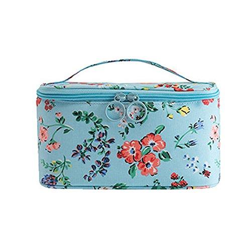 LULANDas kleine extra dicken Hocker portable Kosmetiktasche niedliche Mädchen waschen Paket Aufnahmepaket, 22 * 12 * 12 cm, blaue Blüten.