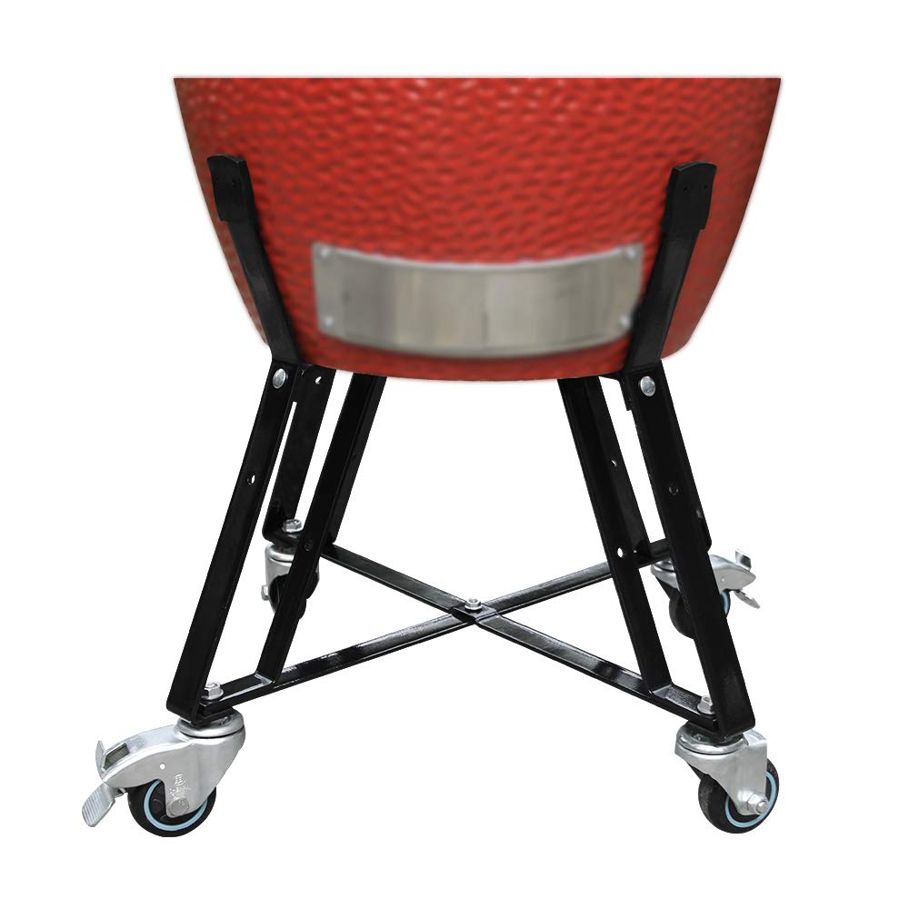 Dracarys Rolling Nest Cart Egg Nest for Kamado Joe Classics Ceramic Grill BBQ Nest with Heavy Duty Locking Caster Wheels Powder Coated Steel Rolling Outdoor Cart Stand Cooking Raise Egg Round Pit