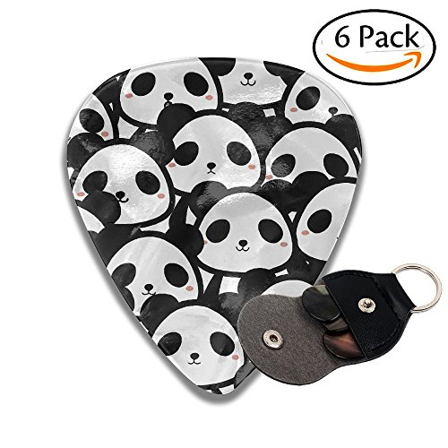 C-Emily Panda 351 Shape Classic Guitar Picks (6 Pack) For Electric Guitar, Acoustic Guitar, Mandolin, And Bass (Thin, Medium, ()