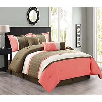 Amazon Com Modern 7 Piece Bedding Coral Pink Brown