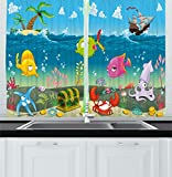 Ambesonne Kids Kitchen Curtains, Funny Sea Animals Underwater Ocean View with Sail Boat Palm Trees Cartoon Artwork, Window Drapes 2 Panels Set for Kitchen Cafe, 55 W X 39 L Inches, Multicolor
