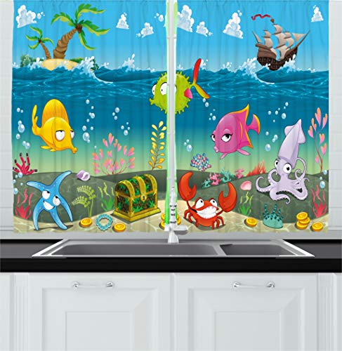 Ambesonne Kids Kitchen Curtains, Funny Sea Animals Underwater Ocean View with Sail Boat Palm Trees Cartoon Artwork, Window Drapes 2 Panels Set for Kitchen Cafe, 55 W X 39 L Inches, Multicolor by Ambesonne